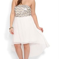 Plus Size Strapless Dress with Chevron Sequin Bodice and High Low Hem