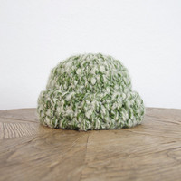 80s Wool Chunky Beanie/ Cozy Oversized Fisherman's Cap/ Green Creamy/ Unisex Women Men