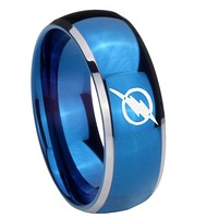 8MM Glossy Blue Dome Flash Tungsten Carbide 2 Tone Laser Engraved Ring