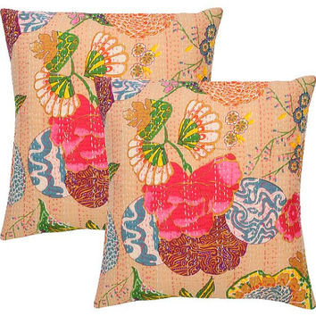 Kantha Pillow Cover, Tropical Pillow Covers, Throw Pillow Covers 16X16,Decorative Pillows For Couch, Sofa Pillow Covers  (Set of 2)
