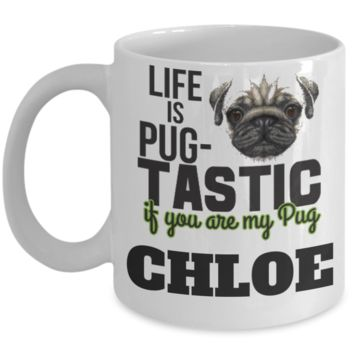 Personalization Gift Pug Mug - Funny Saying Quote Gift for Her & Him - Personalized Dog Name Gift for Kids, Parents, Mom, Dad, Grandparents - Best Morning & Night Cup for Cocoa, Coffee & Santa Candy Cane