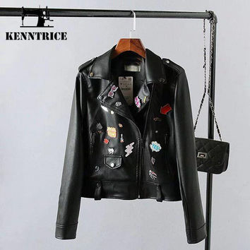 Pattern Appliques Leather Jackets Women Trench Coats Bomber Jacket Winter Leather Coat Biker Jacket