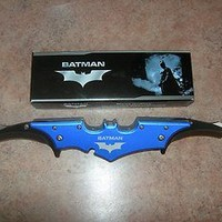 "Batman Knife DUAL BLADES Folding Blade Spring Assisted 11"" W/Belt Clip BLUE FLE"
