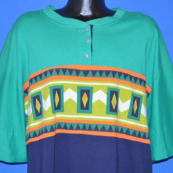 90s Multi Colored African Print Over Sized t-shirt 3XL