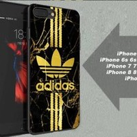 Best Adidas.050 Gold Marble Stripe Fit Hard Case for iPhone 6 6s 7+ 8+ Cover