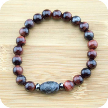 Red Tigers Eye Yoga Jewelry Bracelet with Black Labradorite