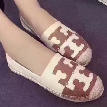 Tory Burch 2018 new color matching flat simple retro canvas shoes lazy shoes F-ALS-XZ Beige