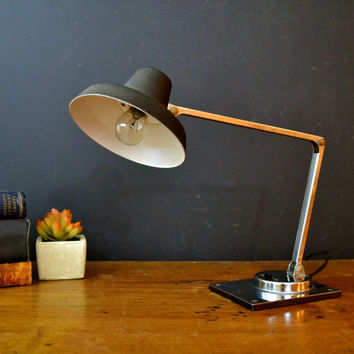Mid Century Tensor Articulating Lamp, Black and Silver Desk Lamp