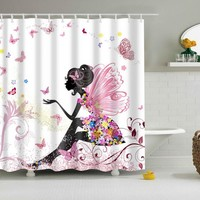 Bathroom Shower Curtains Woman Shadow Shower Curtain Waterproof Polyester Fabric Custom Bathroom Curtain Hooks Portrait Decor