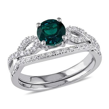 6.0mm Lab-Created Emerald and 1/8 CT. T.W. Diamond Twist Shank Bridal Engagement Ring Set in 14K White Gold