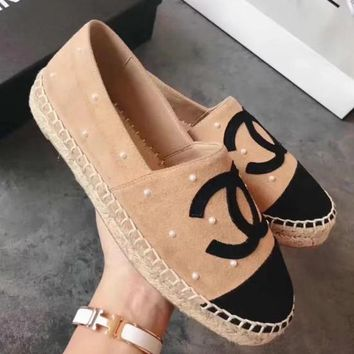 Chanel Pearl Women Fashion Espadrilles Flats Shoes