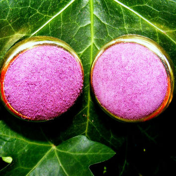 Purple Suede Button Earrings with Gold Tone Boarder