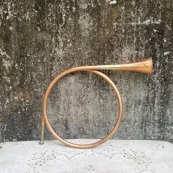 Vintage Round Copper and Brass Hunting Horn