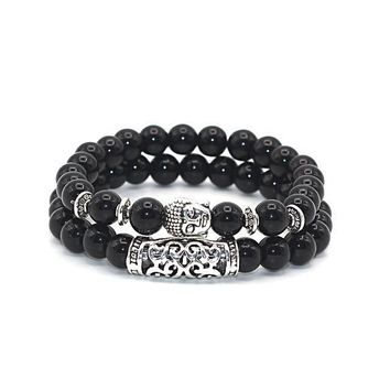 Buddha Charm Lava Onyx Turquoise Natural Stone Bracelet Silver Plated