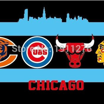 90x150cm Chicago City All Team Flag Blackhawks Cubs Bears Bulls Flag 3X5FT Chicago All Day Flag brass metal holes