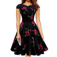 Vintage Style Women Dress Floral High Waist Evening Party Slim Midi Swing Dress = 5738877505