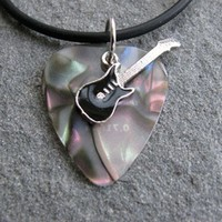 Guitar Pick Necklace with Black Electric Guitar Charm on Opal Pick Unique Design By Atlantic Seaboa