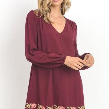 Free Spirit Burgundy Dress