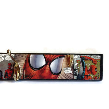 COMIC BOOK Spiderman Coat Pegs hand painted reclaimed pallet decor OOAK Home or Office storage hooks in Black