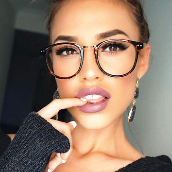 Sexy  Clear Lens Glasses Women  Clear Lens Optical Round Glasses