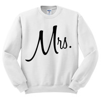 White Crewneck Mrs Bride Sweater Sweatshirt Jumper Pullover
