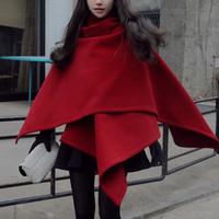 red cape wool cape cloak woolen large size coat winter jacket coat cloak cape coat Irregular hem women plus size coat fitted wool jacket