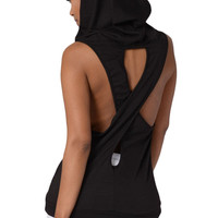 Black Hooded Cross Back Vest Top