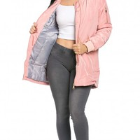 Classic Longline Bomber Jacket in Pink