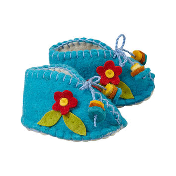 Blue Zooties with Flower Baby Booties - Silk Road Bazaar