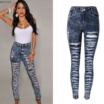 High Waist Deep Blue Denim Ripped Pants