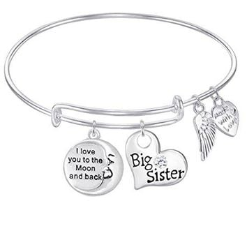 AUGUAU BIG SISTER LITTLE SISTER I Love You to the Moon and Back Expandable Wire Bangle Bracelet For Women, Girls, Teens GIFT BOXED 1