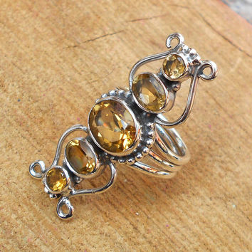 Citrine Gemstone Ring - Designer Gemstone Ring, New Design Ring, Fine Silver Ring, Sterling Silver Ring, Bezel Ring,Top Selling Ring