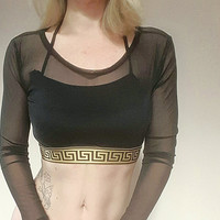 Reworked versace mesh sheer crop top
