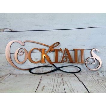 Cocktails Sign Metal Wall Art