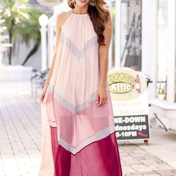 Jenna Color Block Maxi Dress (Multi Pink)