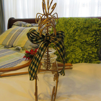 Vintage Wire Holiday Reindeer 3 Candle Holder With Christmas Tree, Holly, and Berries Centerpiece - Green and Gold Bow and Bling