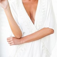 White Lace Trim Elbow Bell Sleeve Plunge V Neck Short Romper