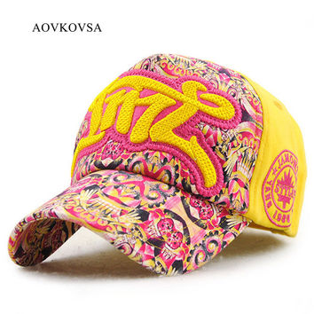 AOVKOVSA 2017 Spring And Summer Cotton Women Snapback Hat Embroidery For Graffiti Letters Cute Leisure Baseball Cap