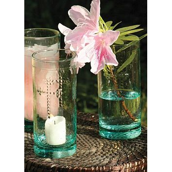 Set Of 6 Rustic Glass Candleholder Vases Or Drinkware With Cross Detail