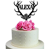 Personalized Birthday Cake Topper Deer Antler Decoration