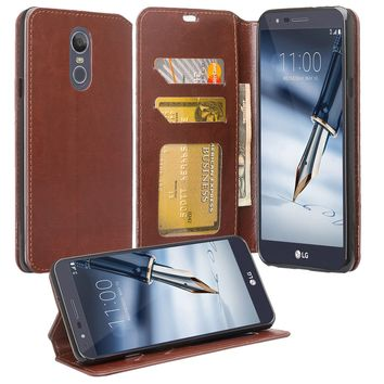 LG Stylo 4 Wallet Case, Pu Leather Wallet Case [Kickstand] with ID & Credit Card Slots - Brown