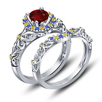 Platinum Over 925 Silver Multicolor CZ Princess Snow White Engagement Ring Set 5