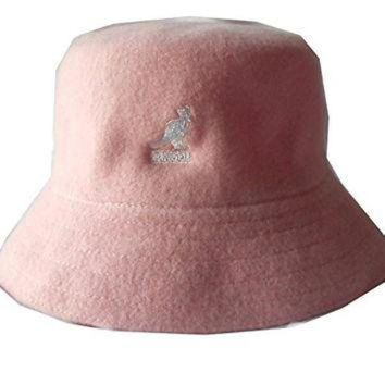 DCCKBWS Kangol wool lahinch polo bucket fisherman hat cap (Small, Pink)