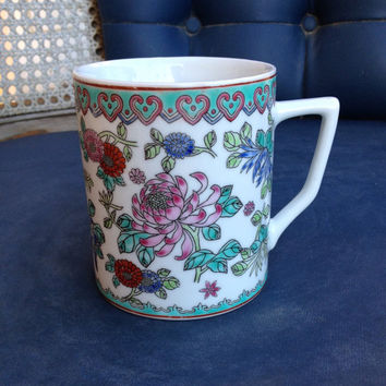 Vintage Porcelain Asian Mug Chinese Hand Painted Floral Mug