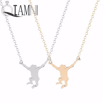 Cute Delicate Monkey Pendant Necklace for Women