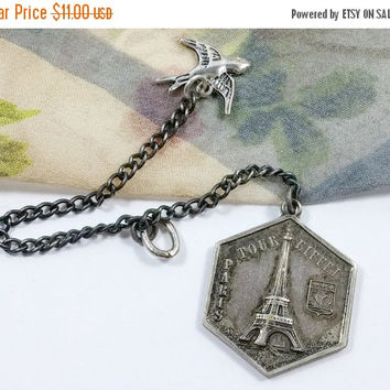 AnTIQuE FrENcH eIFFeL tOWeR PaRIS fRAnCe Tour Token Watch Fob Art Deco Era Depicts Images Hexagon Shaped Cool Collectible Repurposed Art