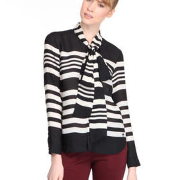 DJPremium.com - Women - Shop by Department - Tops - L/S Patin Striped Scarf Shirt