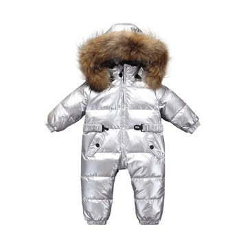 Newborn Baby Brands Clothes Winter Warm Rompers Baby Boy Girls Hooded Large Raccoon Fur Down Jacket Silver Snowsuit Outwear