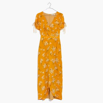 Silk Wrap Maxi Dress in Butterfly Garden