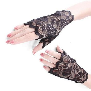 Fashion Sexy Summer Female Sunscreen Fingerless Short Lace Gloves Women Driving Rose Flowers Pattern Etiquette Sun Gloves L18